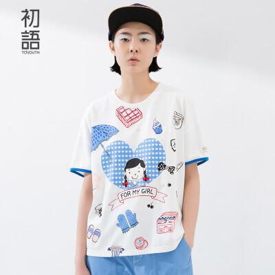 初语 夏新款短袖T恤小公主卡通印花 学生百搭上衣女 8620*1035C