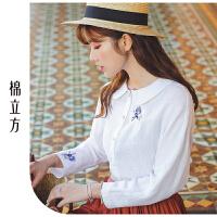 娃娃领衬衫女2019春季新款棉立方韩版时尚宽松设计感小众棉麻衬衣