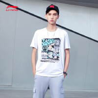 李宁短袖T恤男士篮球系列吸湿纯棉短装夏季运动服AHSM201