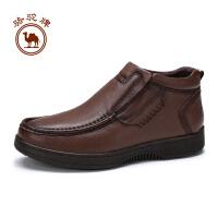 骆驼牌男靴子 秋冬新款男士日常休闲百搭套脚男鞋高帮厚底皮靴