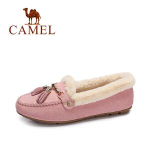 camel/骆驼女鞋 冬季新款 甜美平底休闲豆豆鞋女单鞋流苏保暖懒人鞋
