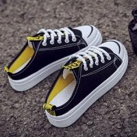 懒人半拖鞋女帆布鞋2019夏季新款韩版百搭拼色无跟一脚蹬小白鞋女