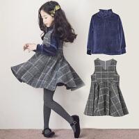 童装秋冬女童套装中大童打底衫格子连衣裙两件套