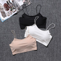 夏季白色少女冰丝防走光抹胸带胸垫裹胸内衣打底吊带运动背心文胸 均码