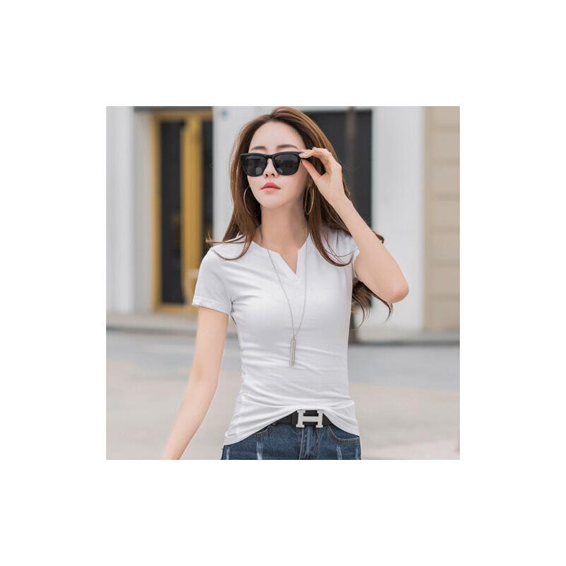 短袖t恤女士修身上衣v领纯棉白色半袖打底衫韩版纯色简约大码体恤WK7089