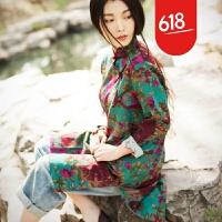 2018民族风女装连衣裙棉麻唐装中式复古秋款盘扣亚麻改良旗袍上衣GX03
