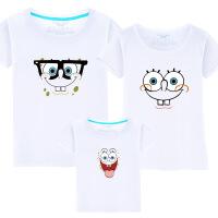 夏装纯棉亲子装一家三口家庭装母女短袖T恤 卡通海绵宝宝