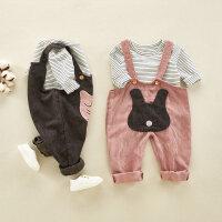 6女宝宝春秋装男女童背带裤婴儿背心套装1-4岁小童洋气外出服