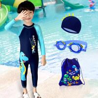 儿童泳衣男童连体中大童小童长短袖沙滩防晒男孩女孩宝宝可爱泳衣