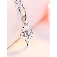 纯银S999锁骨银饰品吊坠送女朋友老婆生日七夕情人节礼物银项链女