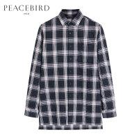 太平鸟男装 夏季新款男士长袖衬衣格子条纹宽松衬衫B2CA72453