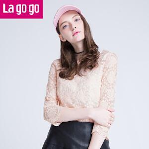lagogo/拉谷谷秋新品蕾丝九分袖镂空百搭上衣两件套