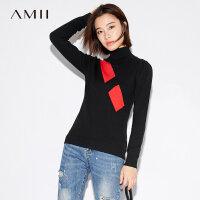 【双12全场5折封顶】Amii[极简主义]2017秋装新款女大码休闲个性撞色高领毛衣11774148