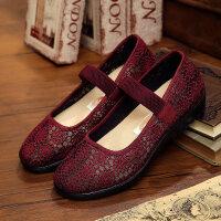 老北京布鞋女老人凉鞋女平底奶奶中老年妈妈防滑软底休闲夏季鞋子 15-48 红色 33 女款