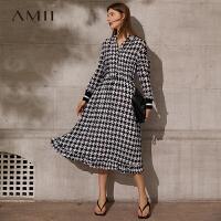 Amii极简复古气质格纹连衣裙女2021春款内搭吊带V领荷叶边长款裙