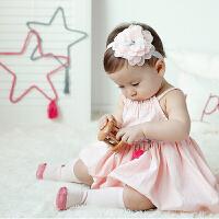 货到付款 Yinbeler 女童连衣裙夏装0-1岁婴儿裙子女宝宝背心裙童装棉质吊带镂空裙子花边公主裙
