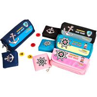 品轩阁大容量笔袋初中韩版简约创意帆布海军风笔袋儿童学生铅笔袋/文具盒