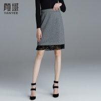 颜域品牌女装2017冬季新款拼接蕾丝边H型半裙针织短款包臀半身裙