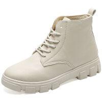 马丁靴女短筒靴子秋冬季学生韩版百搭英伦风鞋子高帮ins防滑平底 米色 薄款 35 标准码
