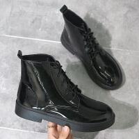 高邦黑色马丁靴女酷嘻哈2019新款短靴春秋单靴厚底英伦风女靴子潮 35 女款