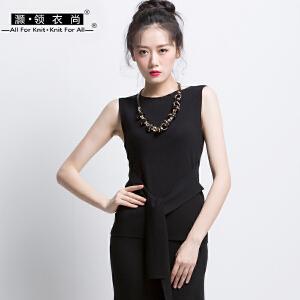 复古黑色系带针织背心女外穿腰部绑带修身显瘦宽带吊带衫无袖上衣