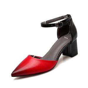 O'SHELL欧希尔夏季上新007-5-21韩版粗跟高跟尖头女士凉鞋