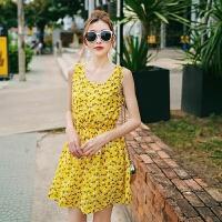 海边度假沙滩裙碎花雪纺大码连衣裙无袖背心裙黄色清新短裙夏 黄色