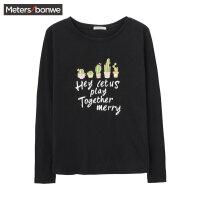 【每满100减50】美特斯邦威长袖t恤女士春秋季新款小清新印花圆领上衣服韩版潮