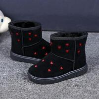 新款雪地靴加绒加厚雪地棉鞋女低筒短靴冬季平底防滑棉鞋童雪地靴