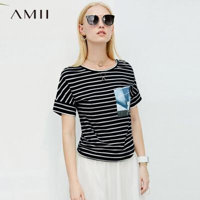 AMII极简法式chic街头T恤2018夏新显瘦条纹艺术印花圆领上衣.定制拉架棉 弹力透气 不挑身材