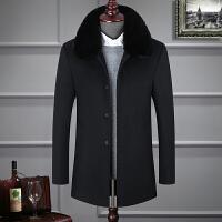 冬季中年男中长款毛呢子大衣加绒加厚真毛领爸爸装外套呢老年上衣