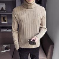 冬季男士高领毛衣 潮流修身加绒加厚打底针织衫男宽松毛线衫外套 13驼色
