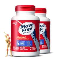 【蓝瓶】美国直邮 Schiff 旭福 Move Free维骨力氨糖软骨素 MSM加强版 蓝瓶80粒*2瓶 海外购