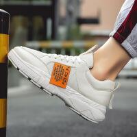 2019春新款侧标运动鞋男式厚底网面透气潮鞋系带休闲鞋跑步男鞋子