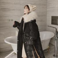 过膝长款外套面包女装冬季大毛领加厚oversize羽绒棉衣 黑色 M