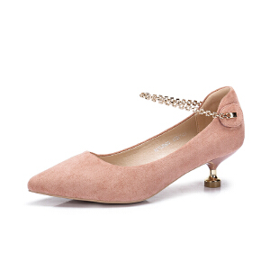 Camel/骆驼女鞋 2018春季新品 优雅尖头细跟单鞋女 金属腕带单鞋