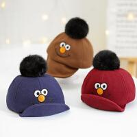 儿童帽子秋冬鸭舌帽毛球女童笑脸男童宝宝帽子1-2-3岁