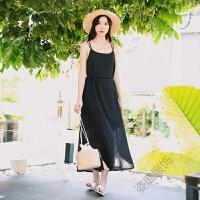 波西米亚度假沙滩裙雪纺吊带大摆连衣裙高腰开叉圆点长裙 黑色