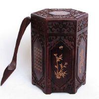 紫檀木制茶叶罐 实木质茶叶勺 红木普洱茶叶木桶盒子家用