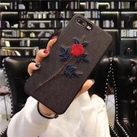 刺绣花苹果X手机壳挂绳iPhone6保护套6s女款苹果7plus防摔8软壳10