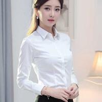 长袖修身职业衬衫女装正装短袖长袖衬衫工装女韩版白领工作服白衬衣 S码 75-85斤