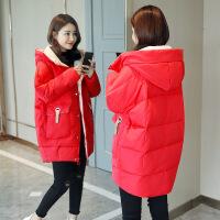 女中长款2018冬装新款韩版流行羽绒棉宽松加厚学生面包服外套 红色-1 S