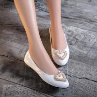 彼艾2017春季新款浅口单鞋女平底漆皮春鞋小尖头糖果色新款平跟心形珍珠水钻小皮鞋