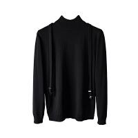 可拆卸背带绅士风度秋季新原创半高领毛衣男士针织衫修身长袖青年