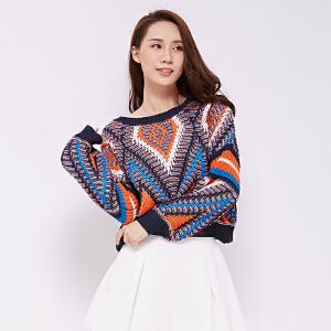 纯棉粗针线衣蝙蝠针织衫韩版学生彩色几何泡泡袖百搭高腰短款毛衣