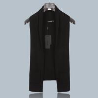 时尚男士中长款毛衣马甲男春秋韩版无袖针织开衫外套潮流马夹背心 黑色 175/92(XL)