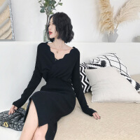 黑色针织连衣裙女秋冬2018新款桔梗复古法式气质打底过膝毛衣裙厚