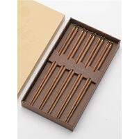 红木筷子家用筷子家庭装分用鸡翅木礼盒套装红木家用筷子