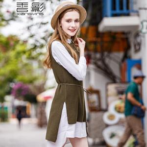 香影无袖针织衫女 2017春装新款韩版纯色毛衣时尚修身中长款上衣