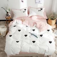 水洗棉四件套全棉纯棉床单被罩公主风天1.2m 1.8米床上用品